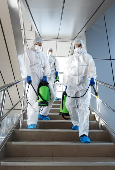 Disinfection workers in protective suits making disinfection of stairs