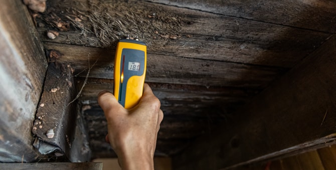 Indoor air quality testing to detect mold in residential basement